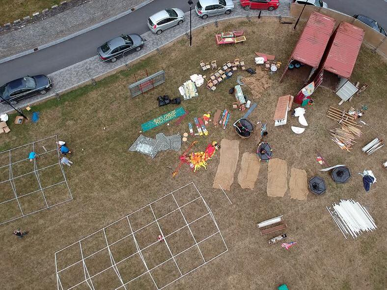 Aerial view as work begins on the Scarecrow Village set up, in 2018.